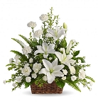 Flower Basket of Beautiful White Lilies