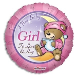 New Baby Girl Bear Balloon Foil