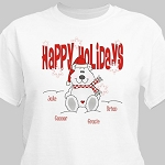 Personalized Christmas Tshirt Happy Holidays