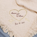Personalized Afghan Throw Blanket Wedding Couples Embroidered Heart