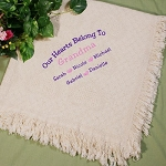 Personalized Afghan Throw Blanket Embroidered Our Hearts Belong To