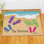 Personalized Flip Flops Doormat Family Beach Welcome Mat