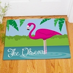 Personalized Flamingo Doormat Welcome Mat