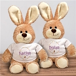 Personalized Easter Rabbit Plush Rabbit Brown Blue or Pink