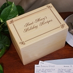 Personalized Holiday Recipe Box Solid Maple