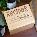Personalized Recipe Box Solid Maple Engraved