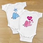 Personalized Infant Creeper Clothing Elephant Choose Boy or Girl