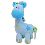 Musical Blue Giraffe Plush Stuffed Animal with Pull String Tail