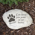Personalized Memorial Pet Garden Stone Cat Pawprint Large