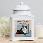 Personalized Pet Cat Photo Cremation Urn Heart and Paws