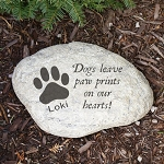 Personalized Memorial Pet Garden Stone Dog Pawprint Choice of Large Heart or Round