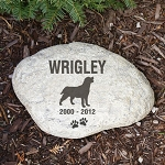 Personalized Pet Garden Stone Dog Silhouette Large