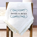 Personalized Couples Afghan Throw Blanket Embroidered