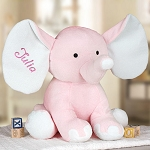 Personalized Plush Elephant Pink Embroidered 13 inch