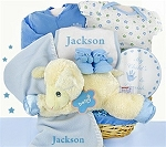 Personalized Gift Basket Baby Boy Lamb Nap Time