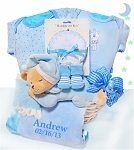 Personalized Gift Basket Baby Boy Bear Nap Time
