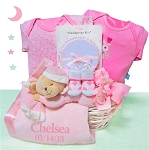 Personalized Gift Basket Baby Girl Bear Nap Time