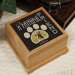 Personalized Pet Cremation Urn Faithful Friend Photo Wooden