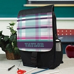 Personalized Purple Plaid Backpack