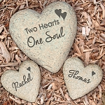 Personalized Garden Stone Set Two Hearts One Soul