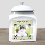 Personalized Pet Cat Photo Cremation Urn Paws
