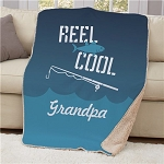 Personalized Fishing Sherpa Blanket Reel Cool Fathers Day