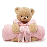 Baby Gund Teddy Bear Plush and Baby Girl Pink Blanket Set
