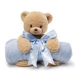 Baby Gund Teddy Bear Plush and Baby Boy Blue Blanket Set
