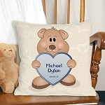 Personalized Teddy Bear Throw Pillow New Baby Boy