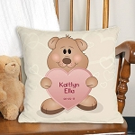 Personalized Teddy Bear Throw Pillow New Baby Girl