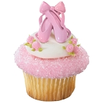 Ballerina Ballet Slippers Cupcake Rings Cake Decorations Iridescent