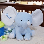 Personalized Plush Elephant Blue Embroidered 8 inch