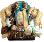 Easter Gift Basket with Bearington Collection Bunnies