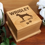Personalized Pet Cremation Urn Dog Breed Wooden