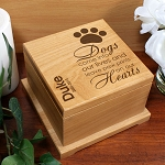 Personalized Pet Cremation Urn Memorial Wooden Dog Paw