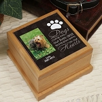 Personalized Pet Cremation Urn Dog Photo Memorial Wooden Pawprint