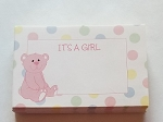 Enclosure gift card Its a girl baby pink teddy bear