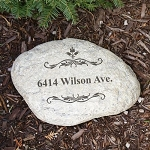Personalized Home Address Garden Stone Large Filigree
