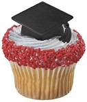 Black Graduation Cap Cupcake Rings Cake Decoration