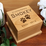 Personalized Pet Dog Cremation Urn Memorial Wooden Forever in our Hearts in Loving Memory