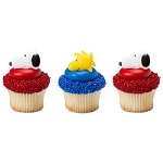 Snoopy & Woodstock Cupcake Rings Cake Decorations