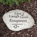 Personalized Family Garden Stone Large Live Laugh Love Hearts