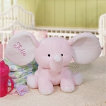 Personalized Plush Elephant Pink Embroidered 8 inch