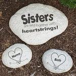 Sisters Garden Stone Tied Together with Heartstrings