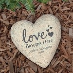 Personalized Heart Garden Stone Love Blooms Here