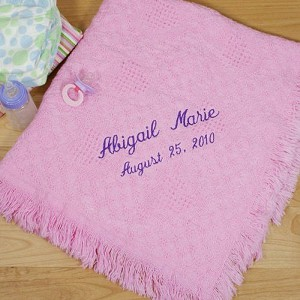 Personalized Baby Afghan Blanket Girl