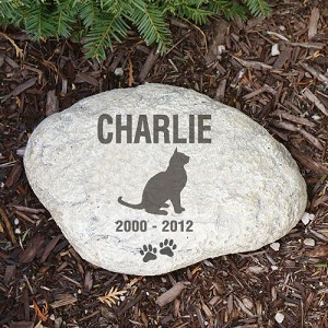 Personalized Pet Garden Stone Cat Silhouette Large