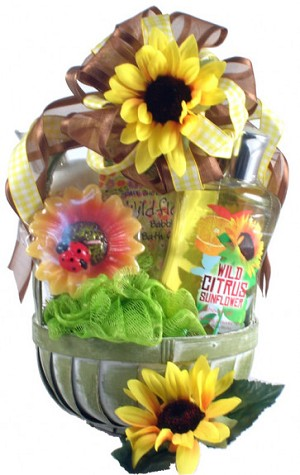 Spa Gift Basket Citrus Sunflower