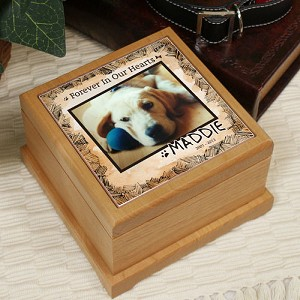 Personalized Pet Cremation Urn Photo Wooden Forever in our hearts