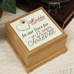 Personalized Pet Cremation Wooden Urn Pawprint in Heart